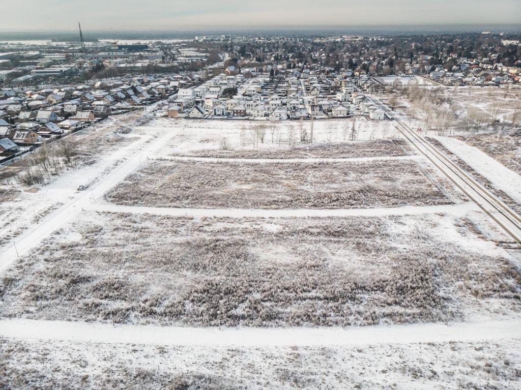 Luftaufnahme des Baufeldes