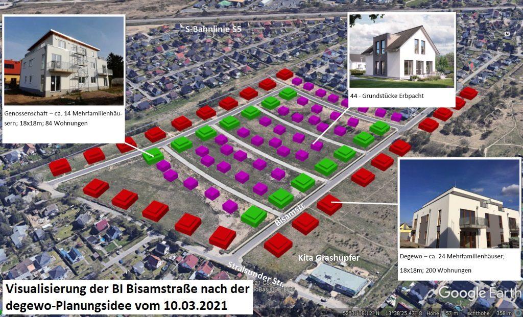 Mehrfamilienhäuser (rot und grün) sowie Einfamilienhäuser (lila) im Baufeld der Bisamstraße (Berlin Mahlsdorf)