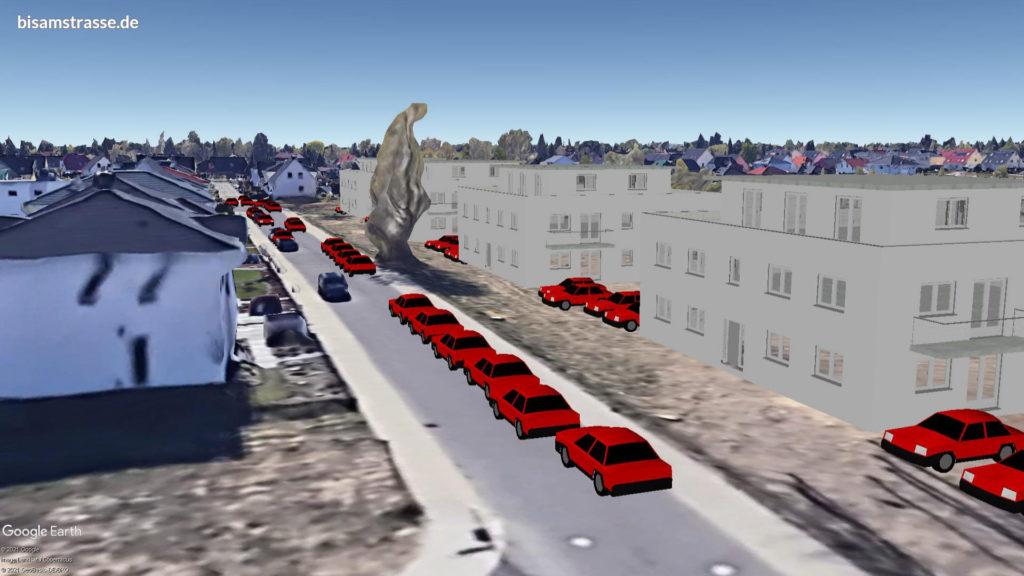 Bisamstraße zugeparkt mit PKW