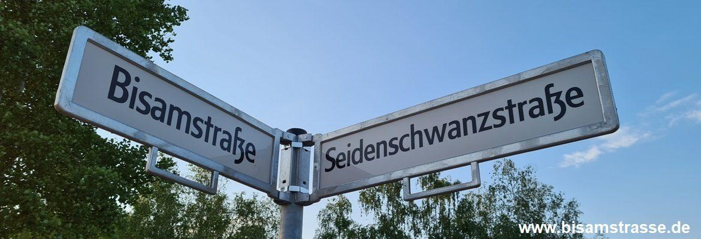 Straßenschild Bisamstraße Seidenschwanzstraße