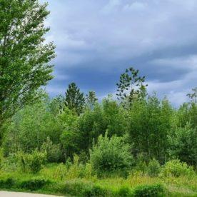 Baufeld Bisamstraße, dunkle Wolken.